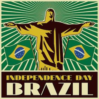 Vintage dzień niepodległości koncepcji brazylii