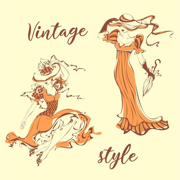Vintage dziewczyny. zestaw.