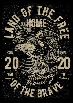 Vintage eagle, plakat vintage ilustracji.