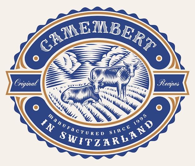 Vintage edytowalna etykieta sera