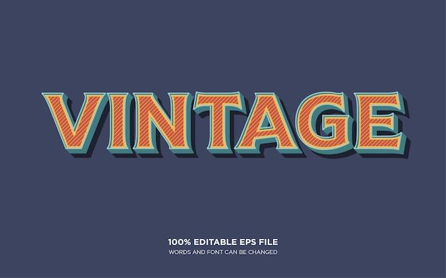 Vintage efekt edytowalnego stylu tekstu 3d