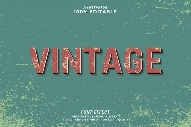 Vintage efekt edytowalny tekst