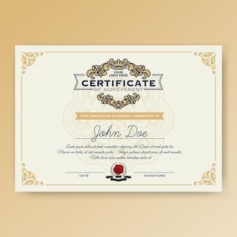 Vintage elegancki certyfikat osiągnięcia