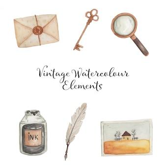 Vintage elementy akwarela