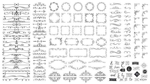 Vintage elementy kaligraficzne. ramki ozdobne, ozdobne przekładki, bordiury. piękne wiry, umywalki ozdobione motywami i zwoje. okrągłe, kwadratowe i prostokątne ramki do kart wektorowych