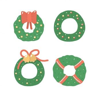 Vintage elementy z zielonym wieniec świąteczny