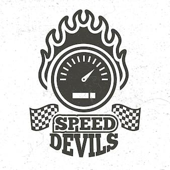Vintage emblemat sportu motocyklowego i motocyklowego z mocą grunge