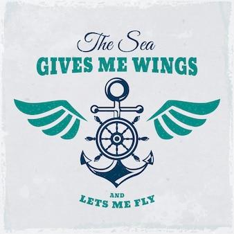 Vintage emblemat z kotwicą, kierownicą i inspirującym cytatem. baner morskie tło.
