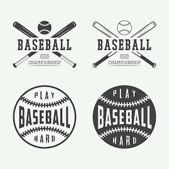 Vintage emblematy baseballowe, odznaki