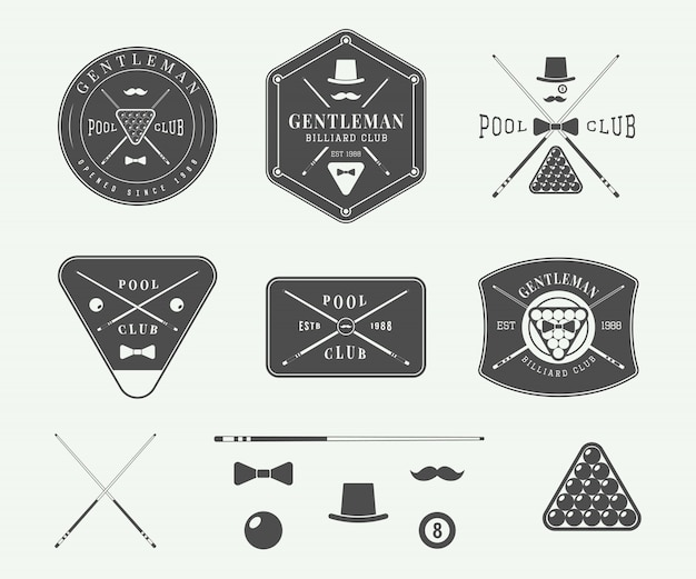 Vintage emblematy bilardowe