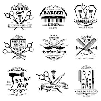 Vintage emblematy i etykiety wektor fryzjera. odznaki fryzjerskie i logo