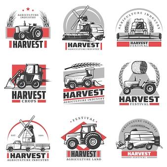 Vintage emblematy zbioru z napisami ciągniki kombajn ładowarka ciężarówka siano beli pszenicy uszy wiatrak na białym tle