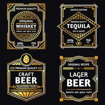 Vintage etykieta alkoholu. whisky w stylu art deco, znak tequili, retro rzemiosła i piwo ager ilustracja etykiety