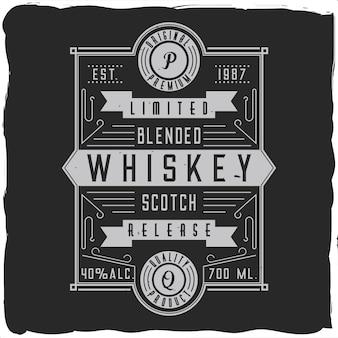 Vintage etykieta alkoholu z napisem