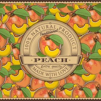 Vintage etykieta brzoskwini na wzór