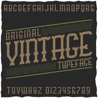 Vintage etykieta czcionka z przykładowym projektem etykiety. dobry do użycia w każdej etykiecie retro.