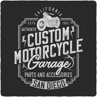 Vintage etykieta motocykl Cstom