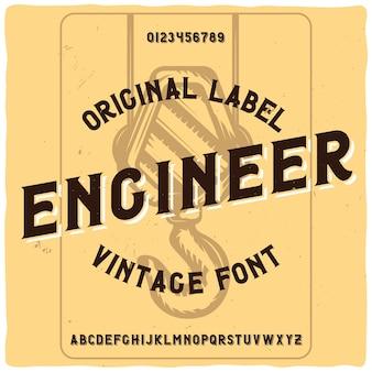 """Vintage etykieta o nazwie """"inżynier"""" z ilustracją dźwigu"""