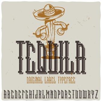 """Vintage etykieta o nazwie """"tequila"""" z kaktusem"""