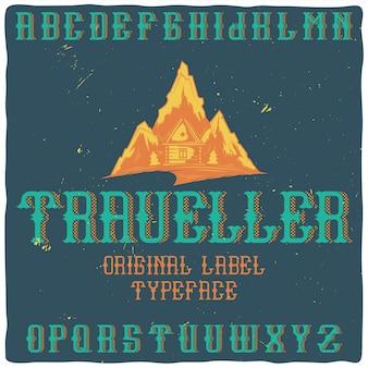 """Vintage etykieta o nazwie """"traveler"""" z ilustracją gór"""