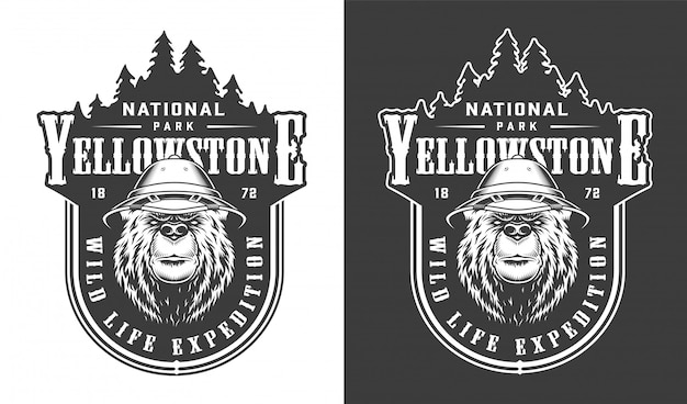 Vintage etykieta park narodowy yellowstone