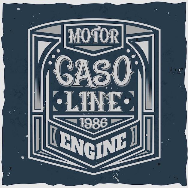Vintage etykieta silnika z kompozycją napis