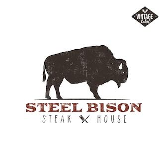 Vintage etykieta steak house. typografia typografia.