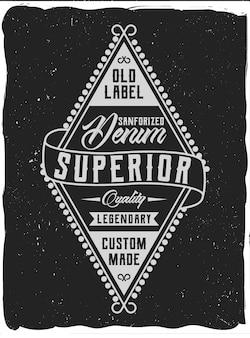 Vintage etykieta z kompozycją napisu