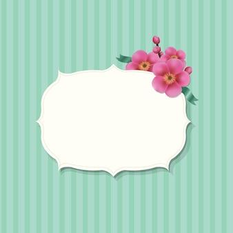 Vintage etykieta z kwiatami sakura