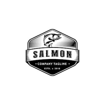 Vintage etykieta z logo łososia logo design