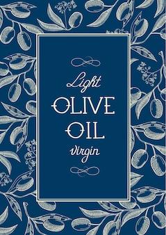 Vintage etykieta z oliwek z pierwszego tłoczenia