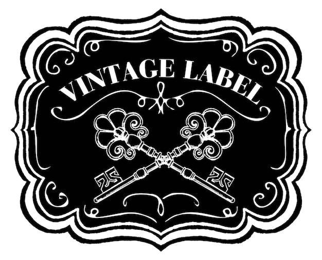Vintage etykieta ze starymi zabytkowymi kluczami w stylu retro