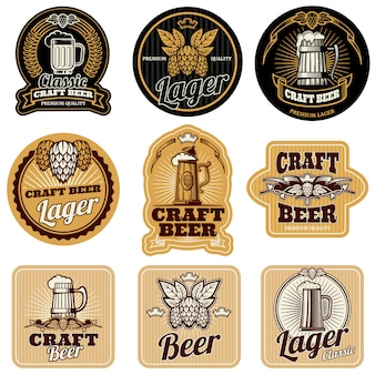 Vintage etykiety butelek piwa wektor