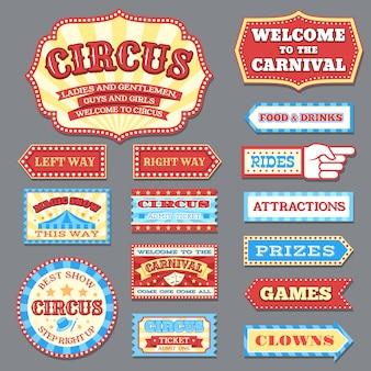 Vintage etykiety cyrkowe i karnawałowe szyldy wektor zbiory
