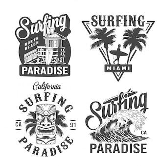 Vintage etykiety czasu surfowania