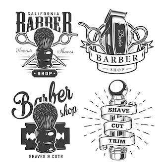 Vintage etykiety dla zakładów fryzjerskich