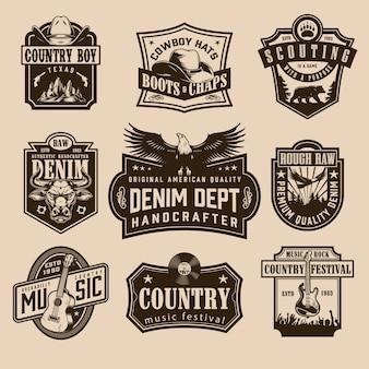 Vintage etykiety dzikiego zachodu