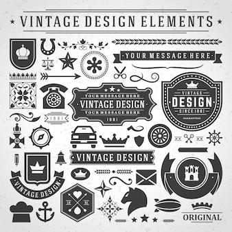 Vintage etykiety i odznaki elementy projektu z symbolami typograficznymi