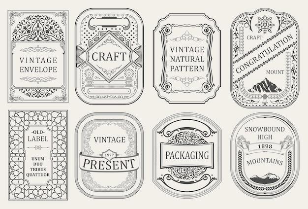 Vintage etykiety kart i retro ramki