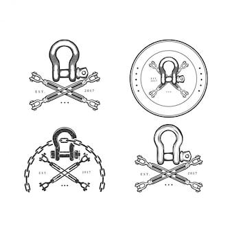 Vintage etykiety łańcucha statku, emblematy