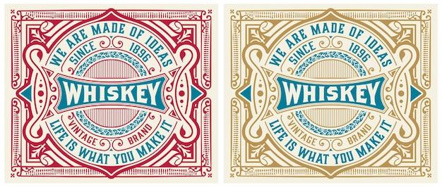 Vintage etykiety na whisky lub inne produkty.