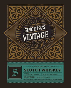 Vintage etykiety na whisky lub inne produkty