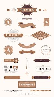 Vintage etykiety, odznaki i wstążki