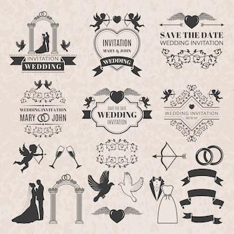 Vintage etykiety ustawione na zaproszenie na ślub.