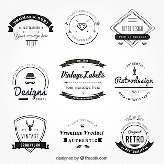 Vintage etykiety w stylu hispter