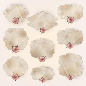 Vintage etykiety z kwiatami.