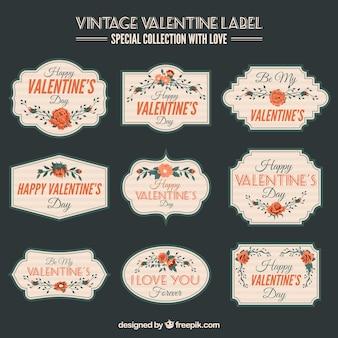Vintage etykiety z kwiatowej dekoracji na walentynki
