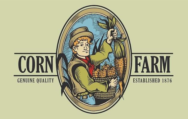 Vintage farm logo ilustracji