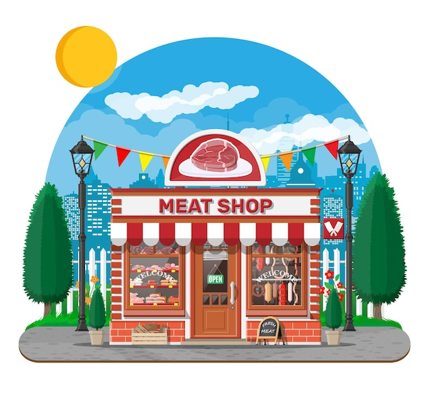 Vintage fasada sklepu mięsnego z witryną. targ mięsny. lada sklepowa z mięsem. kiełbasa plastry wędliniarski wyrób gastronomiczny wieprzowiny drobiowej. płaska ilustracja