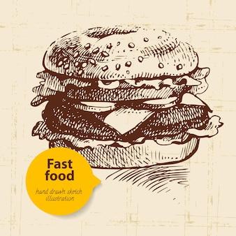 Vintage fast food tło z kolorem bańki. ręcznie rysowane ilustracja
